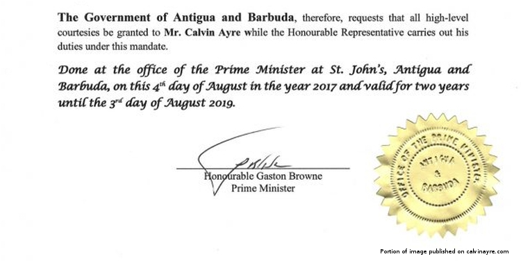Calvin Ayre appointed Economic Envoy for Antigua and Barbuda