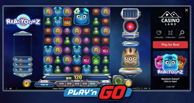 Casino Land launches Reactoonz from Play'n GO